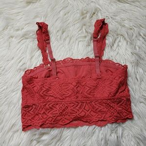 aerie Intimates & Sleepwear - Aerie Burnt Orange Bandeau Lace Bralette